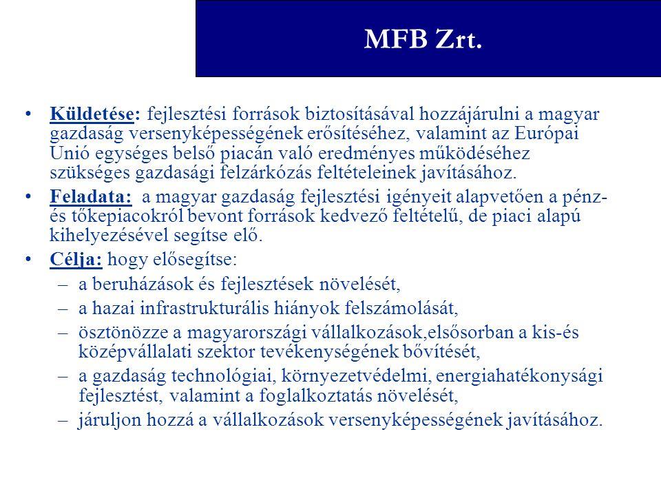 Magyar Fejlesztési Bank Zrt. Küldetése: fejlesztési források biztosításával hozzájárulni a magyar gazdaság versenyképességének erősítéséhez, valamint