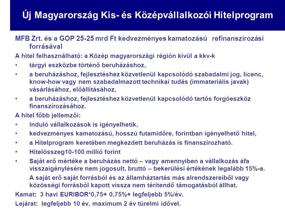 MFB Zrt. és a GOP 25-25 mrd Ft kedvezményes kamatozású refinanszírozási forrásával A hitel felhasználható: a Közép magyarországi régión kívül a kkv-k