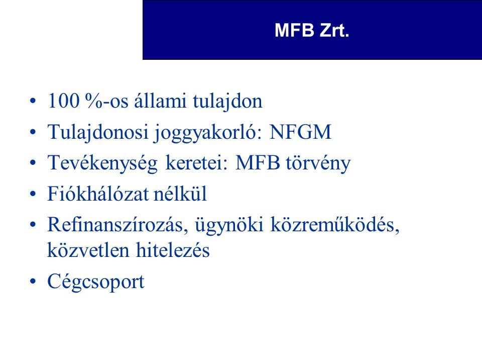 Magyar Fejlesztési Bank Zrt. 100 %-os állami tulajdon Tulajdonosi joggyakorló: NFGM Tevékenység keretei: MFB törvény Fiókhálózat nélkül Refinanszírozá