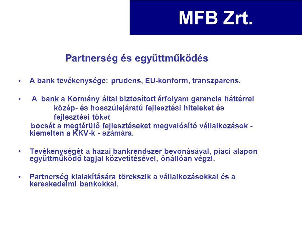 Partnerség és együttműködés A bank tevékenysége: prudens, EU-konform, transzparens.