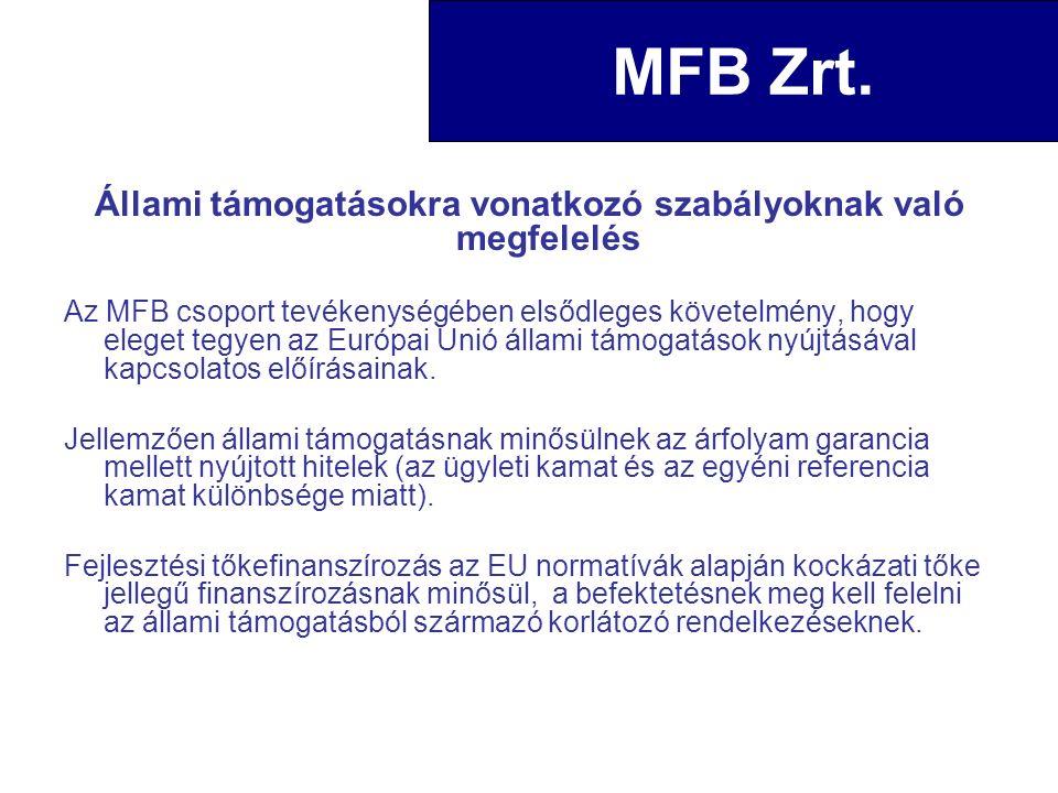 Állami támogatásokra vonatkozó szabályoknak való megfelelés Az MFB csoport tevékenységében elsődleges követelmény, hogy eleget tegyen az Európai Unió