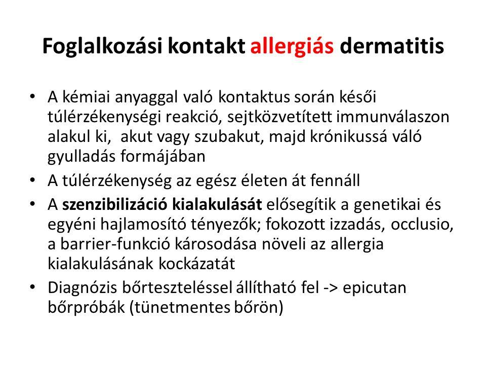 Foglalkozási kontakt allergiás dermatitis A kémiai anyaggal való kontaktus során késői túlérzékenységi reakció, sejtközvetített immunválaszon alakul ki, akut vagy szubakut, majd krónikussá váló gyulladás formájában A túlérzékenység az egész életen át fennáll A szenzibilizáció kialakulását elősegítik a genetikai és egyéni hajlamosító tényezők; fokozott izzadás, occlusio, a barrier-funkció károsodása növeli az allergia kialakulásának kockázatát Diagnózis bőrteszteléssel állítható fel -> epicutan bőrpróbák (tünetmentes bőrön)