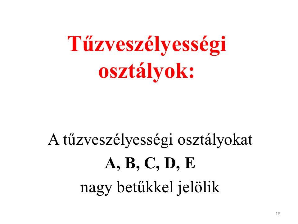 Tűzveszélyességi osztályok: A tűzveszélyességi osztályokat A, B, C, D, E nagy betűkkel jelölik 18