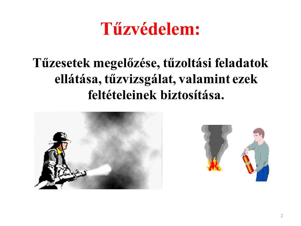 Tűzvédelem: Tűzesetek megelőzése, tűzoltási feladatok ellátása, tűzvizsgálat, valamint ezek feltételeinek biztosítása. 2