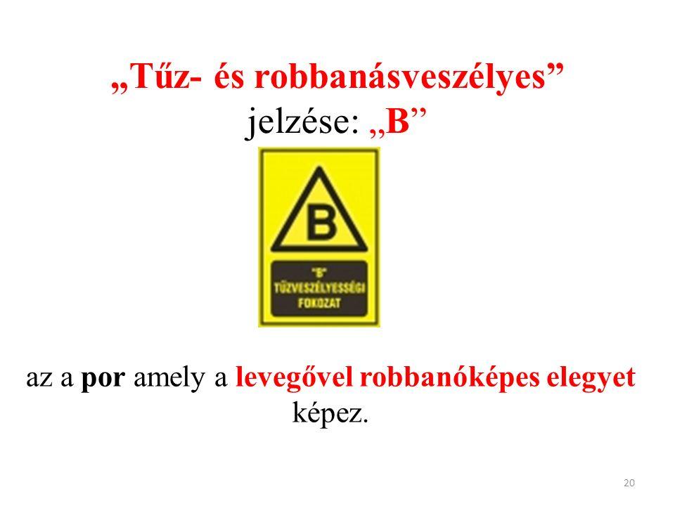 """""""Tűz- és robbanásveszélyes jelzése: """"B az a por amely a levegővel robbanóképes elegyet képez. 20"""