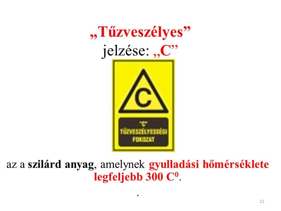 """""""Tűzveszélyes"""" jelzése: """"C"""" az a szilárd anyag, amelynek gyulladási hőmérséklete legfeljebb 300 C 0.. 21"""