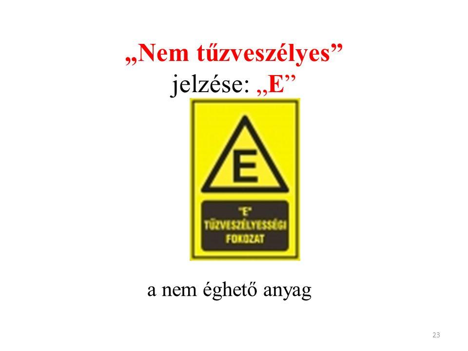 """""""Nem tűzveszélyes"""" jelzése: """"E"""" a nem éghető anyag 23"""