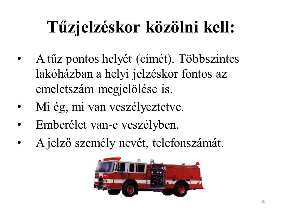 Tűzjelzéskor közölni kell: A tűz pontos helyét (címét). Többszintes lakóházban a helyi jelzéskor fontos az emeletszám megjelölése is. Mi ég, mi van ve