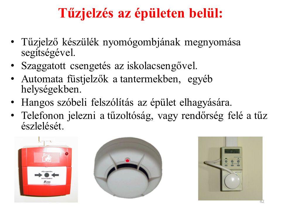 Tűzjelzés az épületen belül: Tűzjelző készülék nyomógombjának megnyomása segítségével. Szaggatott csengetés az iskolacsengővel. Automata füstjelzők a
