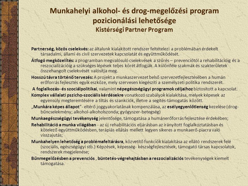 Munkahelyi alkohol- és drog-megelőzési program pozicionálási lehetősége Kistérségi Partner Program Partnerség, közös cselekvés: az általunk kialakított rendszer feltételezi a problémában érdekelt társadalmi, állami és civil szervezetek kapcsolatát és együttműködését.
