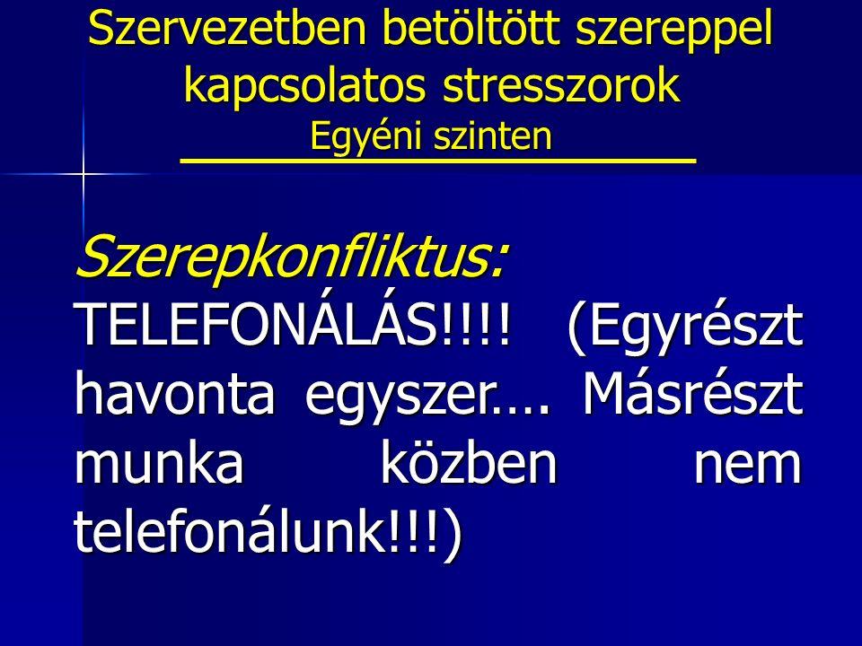 Szerepkonfliktus: TELEFONÁLÁS!!!. (Egyrészt havonta egyszer….