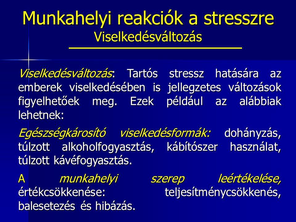 Viselkedésváltozás: Tartós stressz hatására az emberek viselkedésében is jellegzetes változások figyelhetőek meg.