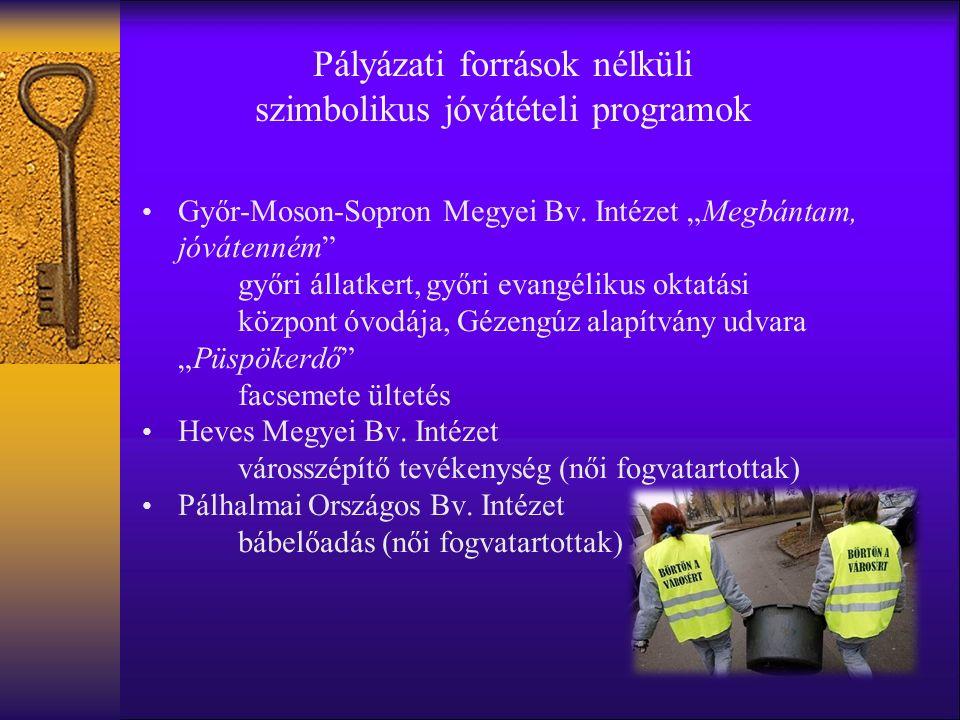 Pályázati források nélküli szimbolikus jóvátételi programok Győr-Moson-Sopron Megyei Bv.
