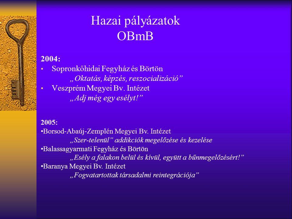 """Hazai pályázatok OBmB 2004: Sopronkőhidai Fegyház és Börtön """"Oktatás, képzés, reszocializáció Veszprém Megyei Bv."""