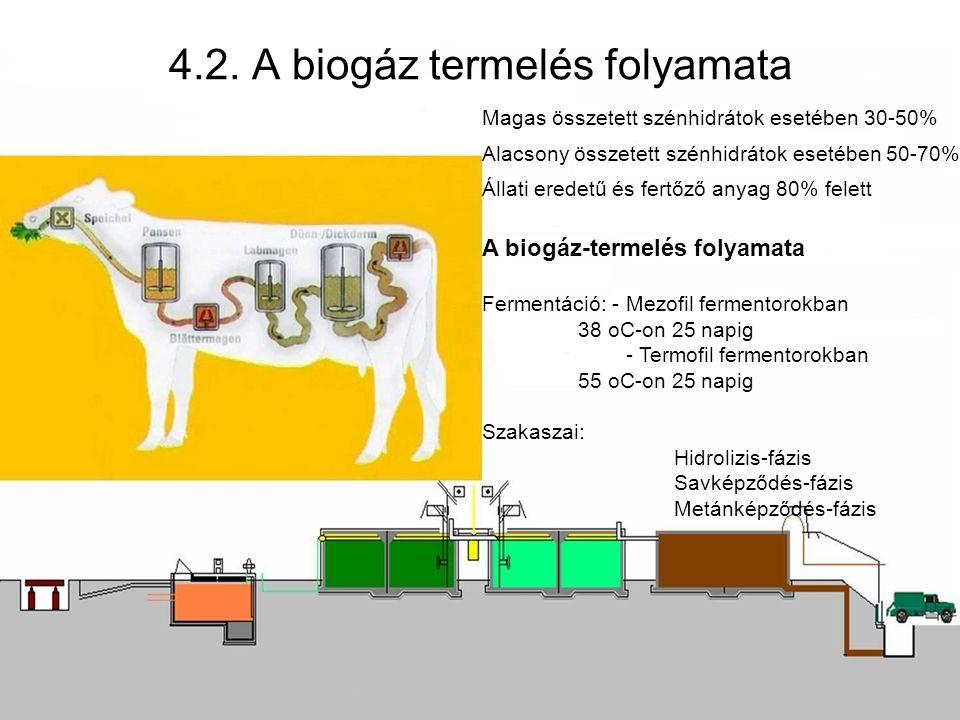 Magas összetett szénhidrátok esetében 30-50% Alacsony összetett szénhidrátok esetében 50-70% Állati eredetű és fertőző anyag 80% felett A biogáz-termelés folyamata Fermentáció: - Mezofil fermentorokban 38 oC-on 25 napig - Termofil fermentorokban 55 oC-on 25 napig Szakaszai: Hidrolizis-fázis Savképződés-fázis Metánképződés-fázis 4.2.