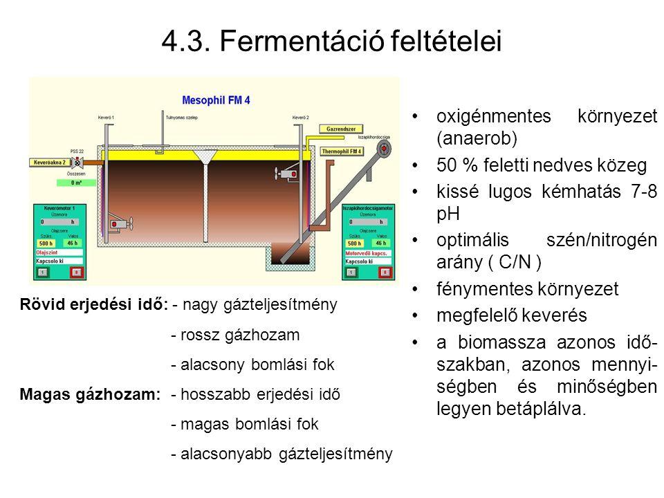 oxigénmentes környezet (anaerob) 50 % feletti nedves közeg kissé lugos kémhatás 7-8 pH optimális szén/nitrogén arány ( C/N ) fénymentes környezet megfelelő keverés a biomassza azonos idő- szakban, azonos mennyi- ségben és minőségben legyen betáplálva.
