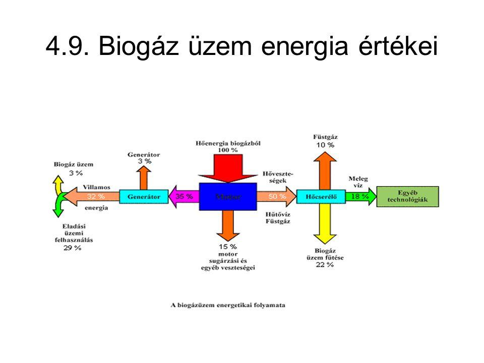 4.9. Biogáz üzem energia értékei