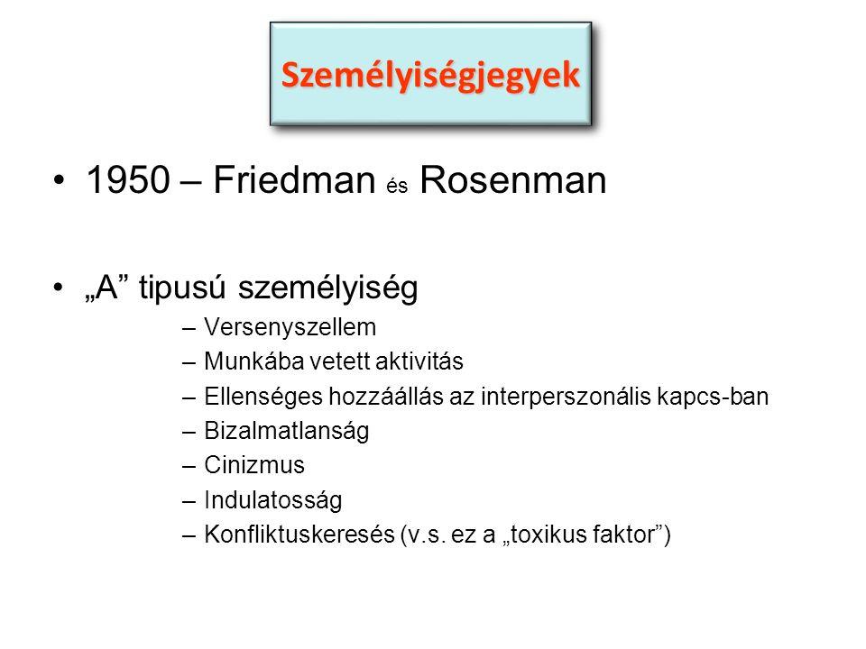 """1950 – Friedman és Rosenman """"A tipusú személyiség –Versenyszellem –Munkába vetett aktivitás –Ellenséges hozzáállás az interperszonális kapcs-ban –Bizalmatlanság –Cinizmus –Indulatosság –Konfliktuskeresés (v.s."""