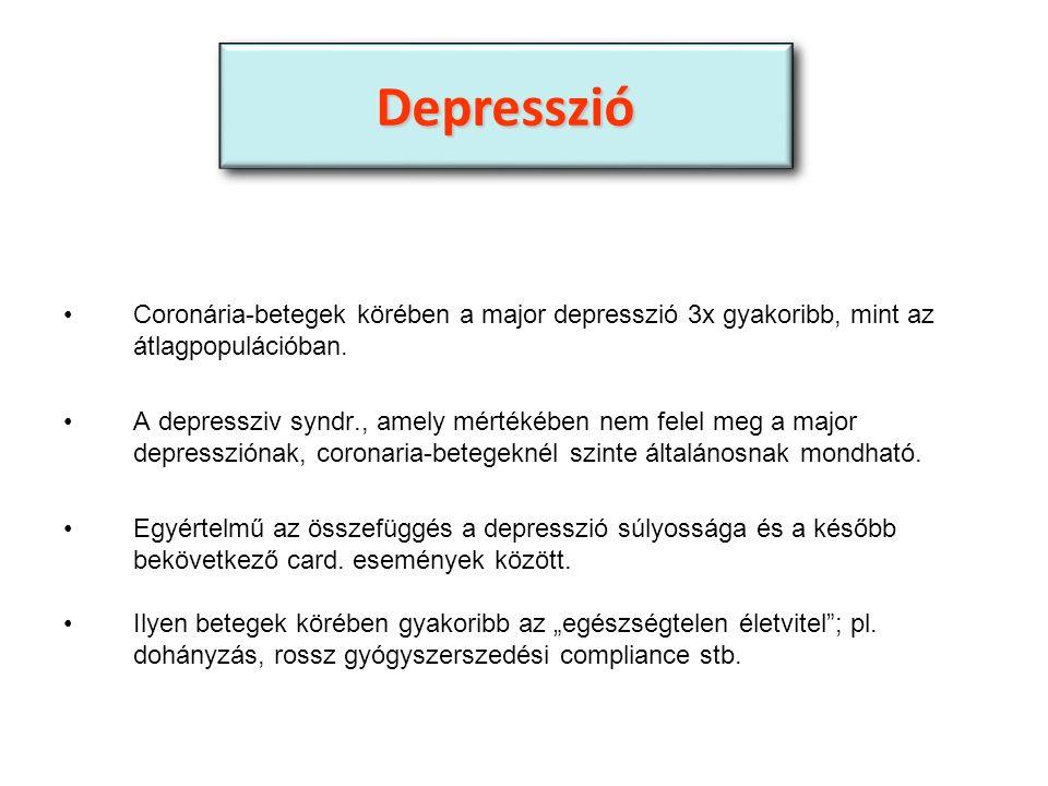 Coronária-betegek körében a major depresszió 3x gyakoribb, mint az átlagpopulációban.