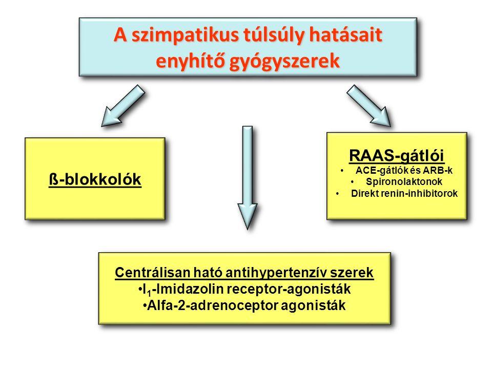 Centrálisan ható antihypertenzív szerek I 1 -Imidazolin receptor-agonisták Alfa-2-adrenoceptor agonisták Centrálisan ható antihypertenzív szerek I 1 -Imidazolin receptor-agonisták Alfa-2-adrenoceptor agonisták A szimpatikus túlsúly hatásait enyhítő gyógyszerek A szimpatikus túlsúly hatásait enyhítő gyógyszerek RAAS-gátlói ACE-gátlók és ARB-k Spironolaktonok Direkt renin-inhibitorok RAAS-gátlói ACE-gátlók és ARB-k Spironolaktonok Direkt renin-inhibitorok ß-blokkolók
