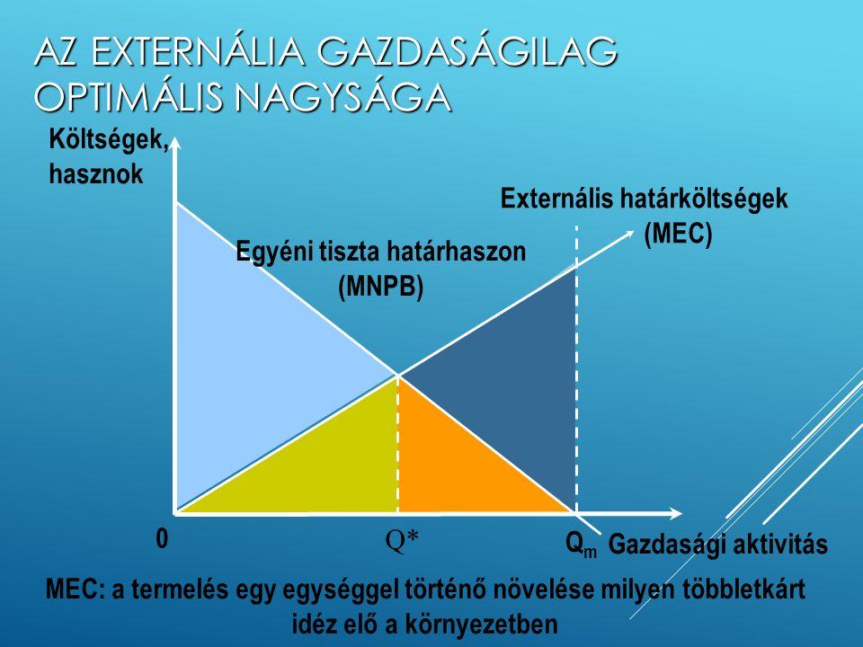A TERMELÉS MAGÁN ÉS TÁRSADALMI KÖLTSÉGEI Forrás: Kerekes-Szlávik, 1989, 56. o. Kereslet p* pmpm Kínálat (ha a költségek tartalmazzák az externális hat