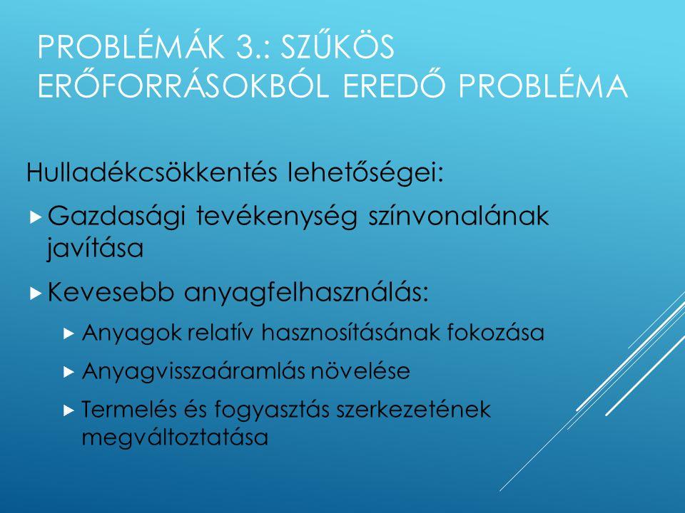 PROBLÉMÁK: 2. GAZDASÁGNÖVEKEDÉS HATÁSA A KÖRNYEZETRE Határidő Beavat -kozás Egyen- súly Termelés Energiaszint K Idő Termelés és energiaszint Biztonság