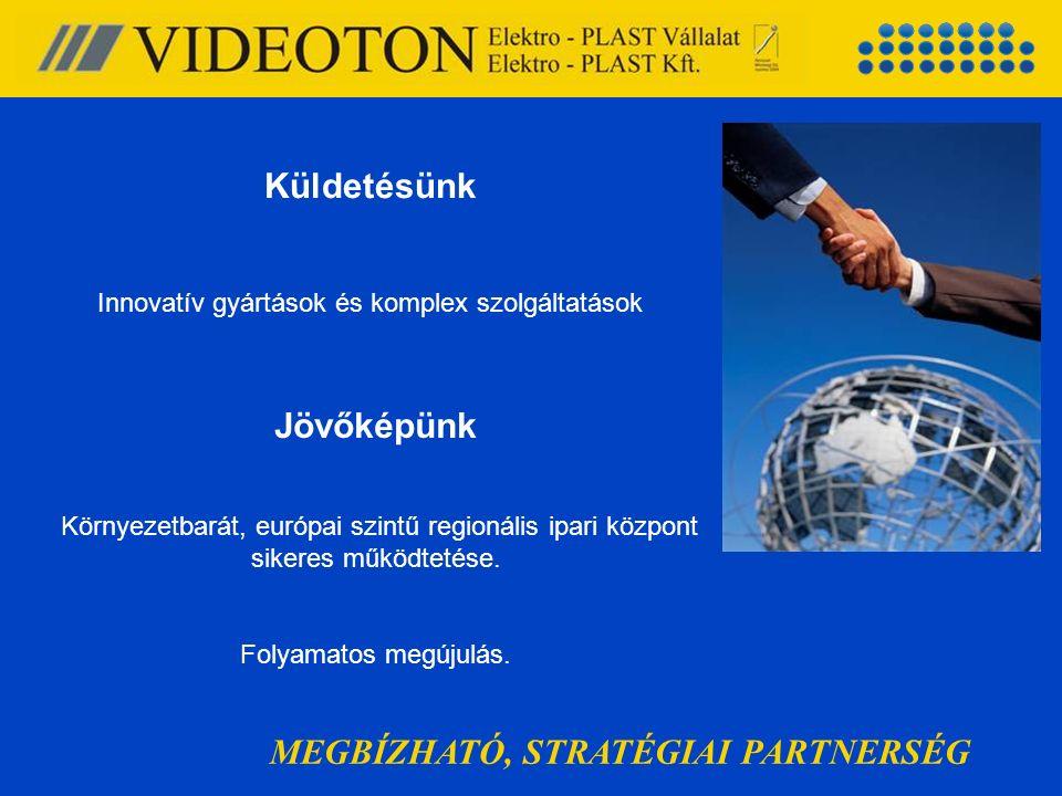 MEGBÍZHATÓ, STRATÉGIAI PARTNERSÉG Küldetésünk Innovatív gyártások és komplex szolgáltatások Jövőképünk Környezetbarát, európai szintű regionális ipari