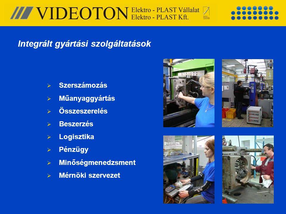  Szerszámozás  Műanyaggyártás  Összeszerelés  Beszerzés  Logisztika  Pénzügy  Minőségmenedzsment  Mérnöki szervezet Integrált gyártási szolgál