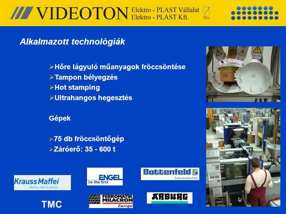  Hőre lágyuló műanyagok fröccsöntése  Tampon bélyegzés  Hot stamping  Ultrahangos hegesztés Gépek  75 db fröccsöntőgép  Záróerő: 35 - 600 t TMC