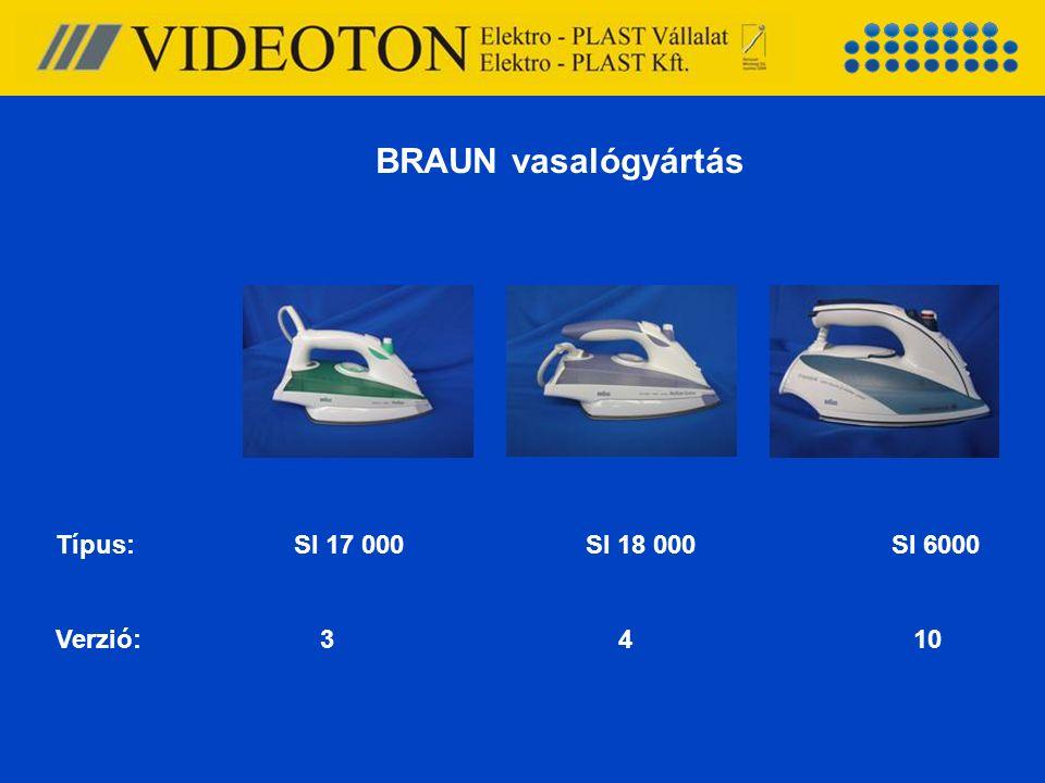 BRAUN vasalógyártás Típus: SI 17 000 SI 18 000SI 6000 Verzió: 3 4 10