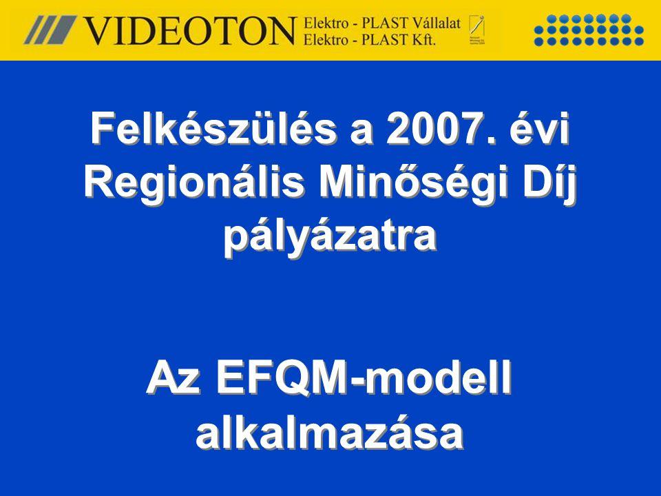 Felkészülés a 2007. évi Regionális Minőségi Díj pályázatra Az EFQM-modell alkalmazása
