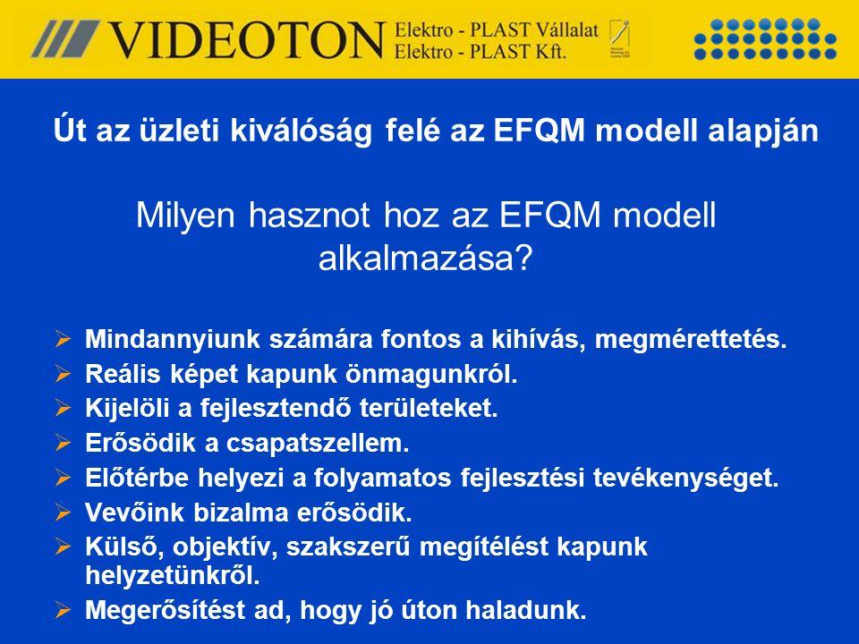 Milyen hasznot hoz az EFQM modell alkalmazása?  Mindannyiunk számára fontos a kihívás, megmérettetés.  Reális képet kapunk önmagunkról.  Kijelöli a