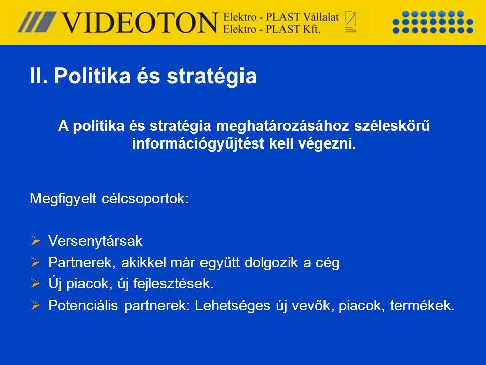 A politika és stratégia meghatározásához széleskörű információgyűjtést kell végezni. Megfigyelt célcsoportok:  Versenytársak  Partnerek, akikkel már