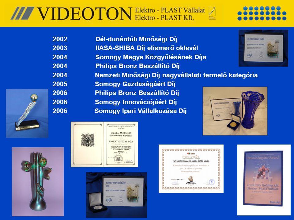 2002Dél-dunántúli Minőségi Díj 2003IIASA-SHIBA Díj elismerő oklevél 2004Somogy Megye Közgyűlésének Díja 2004Philips Bronz Beszállító Díj 2004 Nemzeti