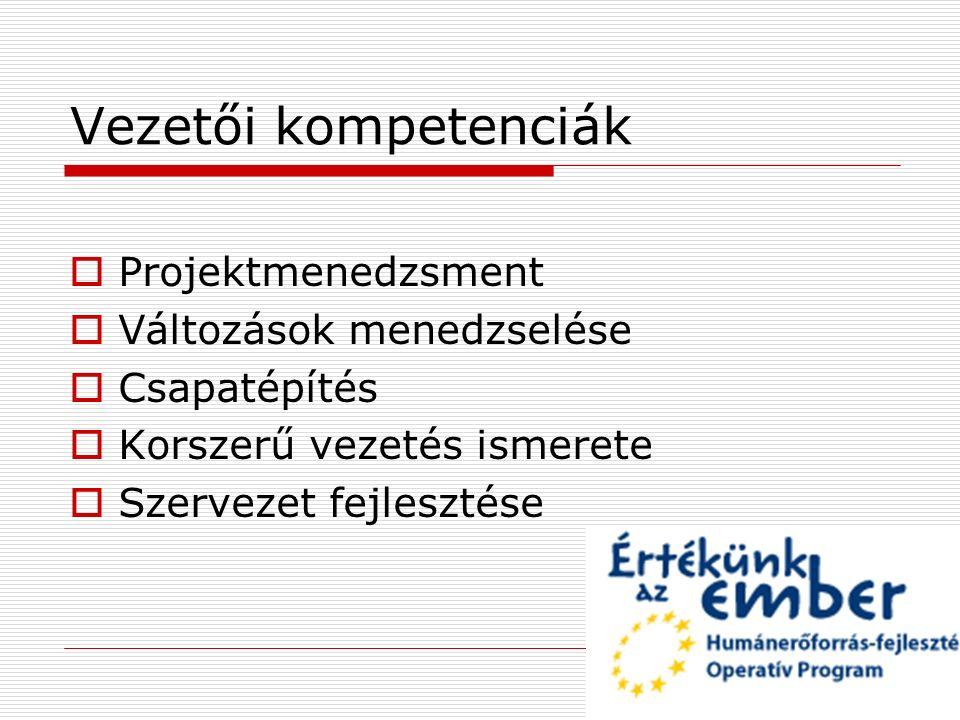 Vezetői kompetenciák  Projektmenedzsment  Változások menedzselése  Csapatépítés  Korszerű vezetés ismerete  Szervezet fejlesztése