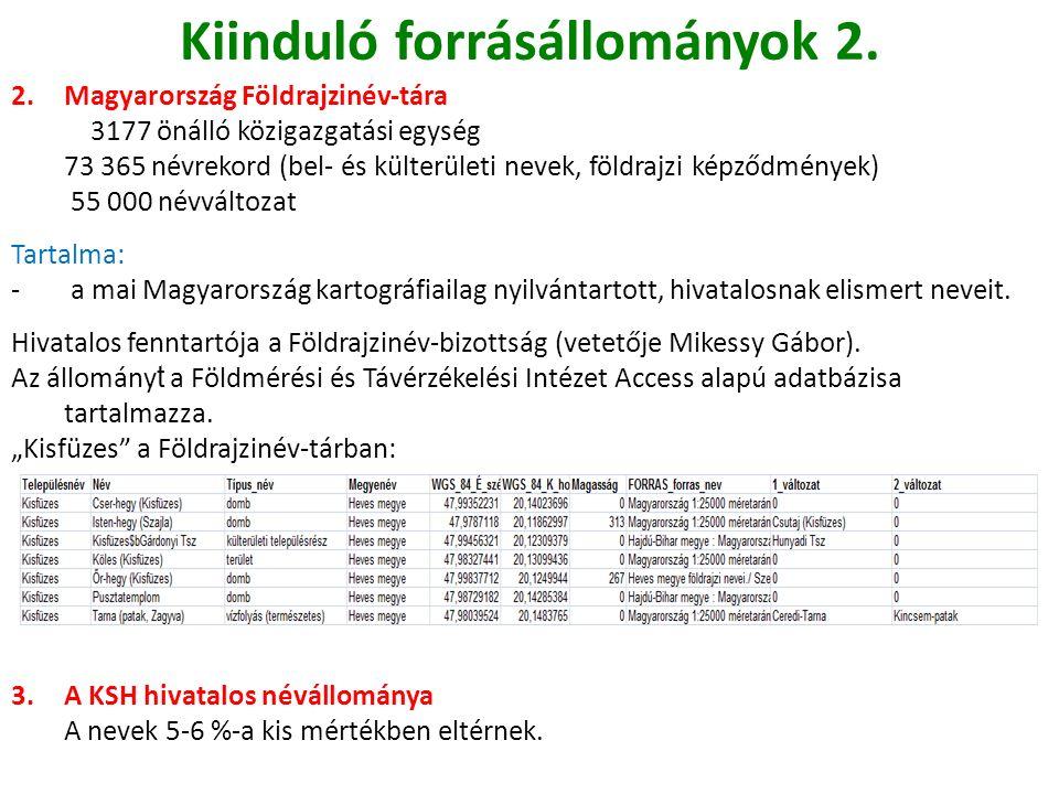 Kiinduló forrásállományok 2.