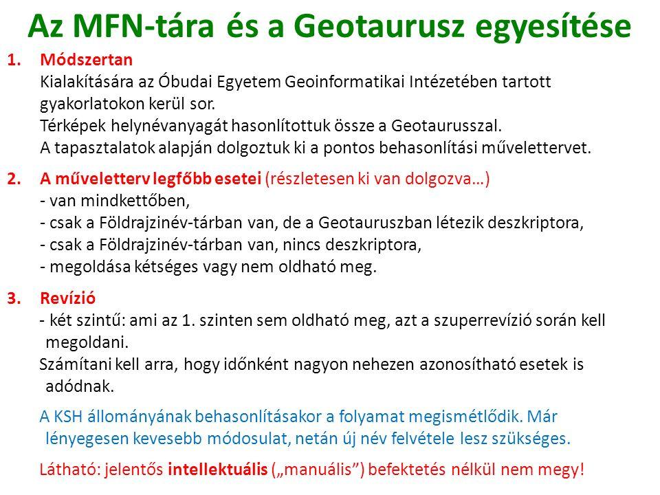 Az MFN-tára és a Geotaurusz egyesítése 1.Módszertan Kialakítására az Óbudai Egyetem Geoinformatikai Intézetében tartott gyakorlatokon kerül sor.