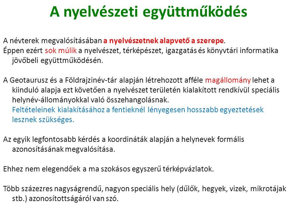 A nyelvészeti együttműködés A névterek megvalósításában a nyelvészetnek alapvető a szerepe.