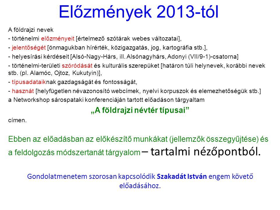 Előzmények 2013-tól A földrajzi nevek - történelmi előzményeit [értelmező szótárak webes változatai], - jelentőségét [önmagukban hírérték, közigazgatás, jog, kartográfia stb.], - helyesírási kérdéseit [Alsó-Nagy-Hárs, ill.