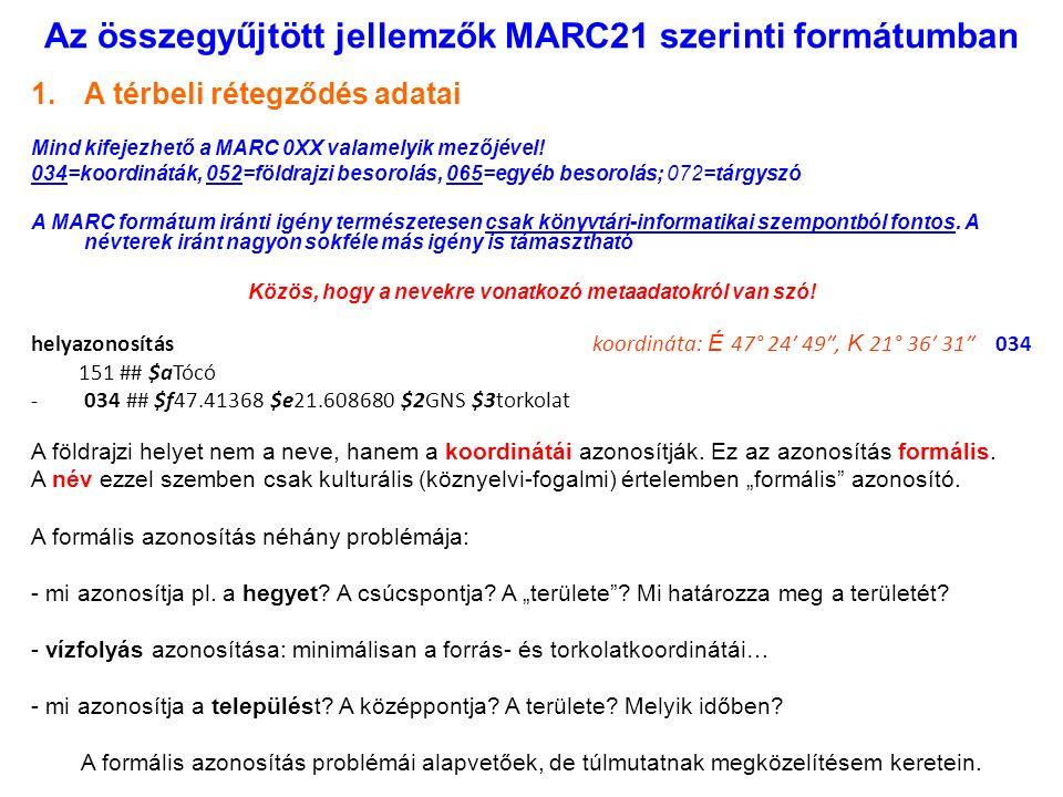 Az összegyűjtött jellemzők MARC21 szerinti formátumban 1.A térbeli rétegződés adatai Mind kifejezhető a MARC 0XX valamelyik mezőjével.