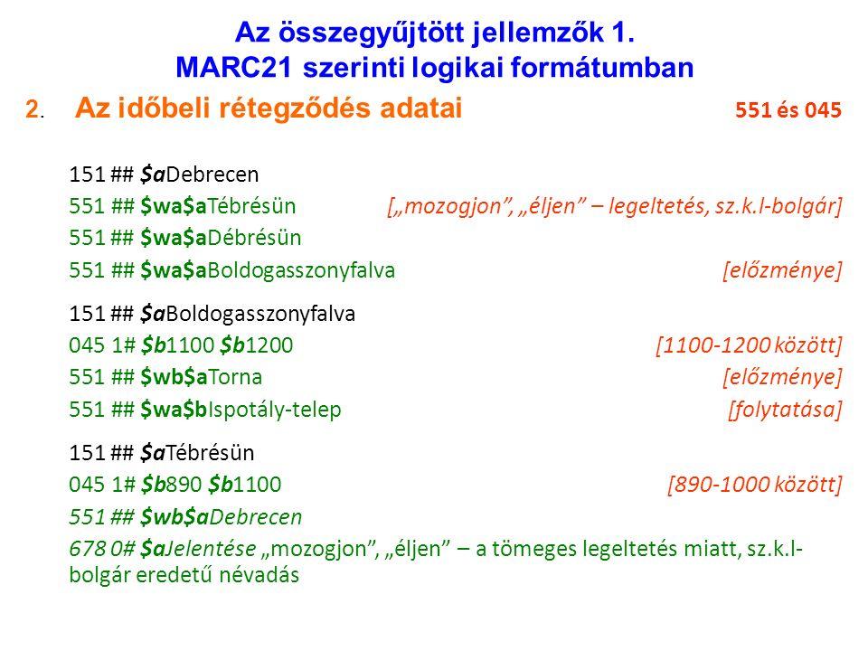 Az összegyűjtött jellemzők 1. MARC21 szerinti logikai formátumban 2.
