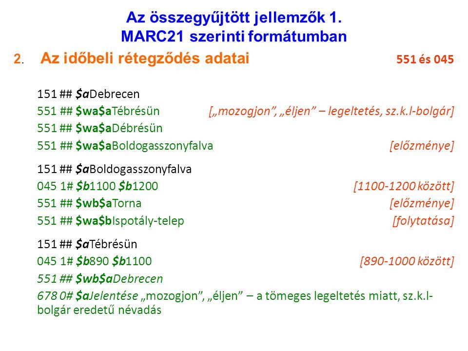 Az összegyűjtött jellemzők 1. MARC21 szerinti formátumban 2.