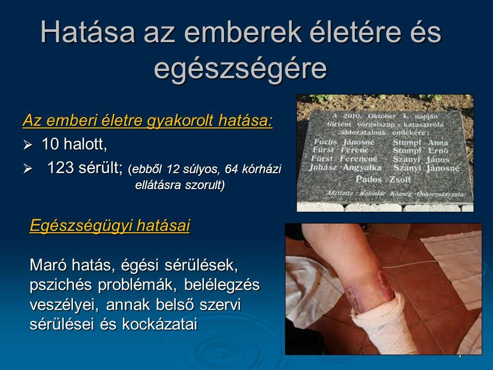 7 Hatása az emberek életére és egészségére Az emberi életre gyakorolt hatása:  10 halott,  123 sérült; (ebből 12 súlyos, 64 kórházi ellátásra szorult) Egészségügyi hatásai Maró hatás, égési sérülések, pszichés problémák, belélegzés veszélyei, annak belső szervi sérülései és kockázatai