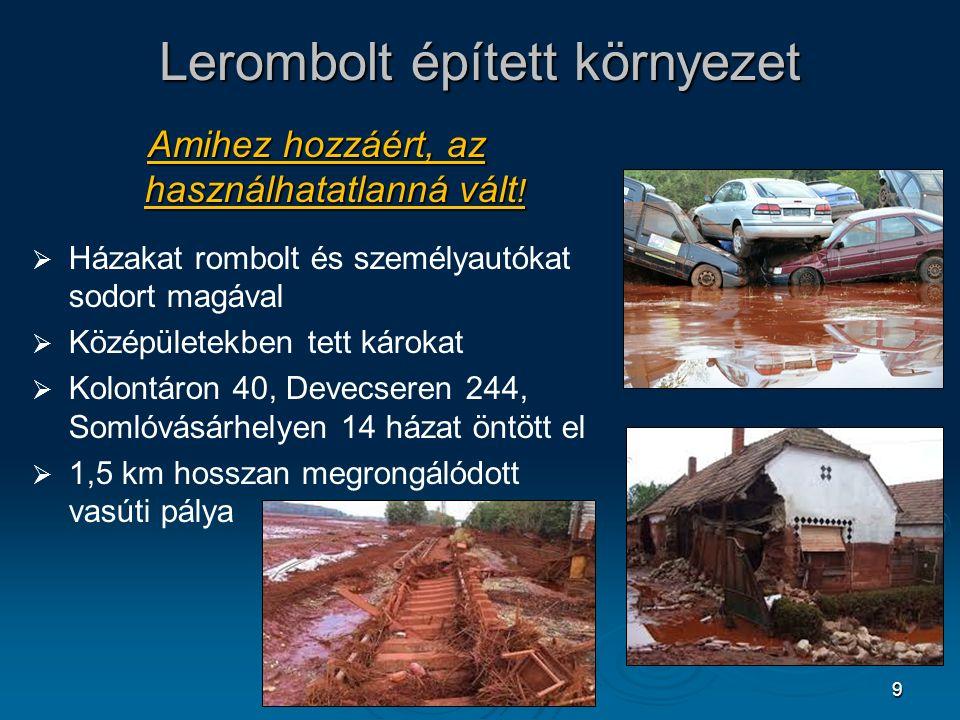 9 Lerombolt épített környezet Amihez hozzáért, az használhatatlanná vált !   Házakat rombolt és személyautókat sodort magával   Középületekben tet