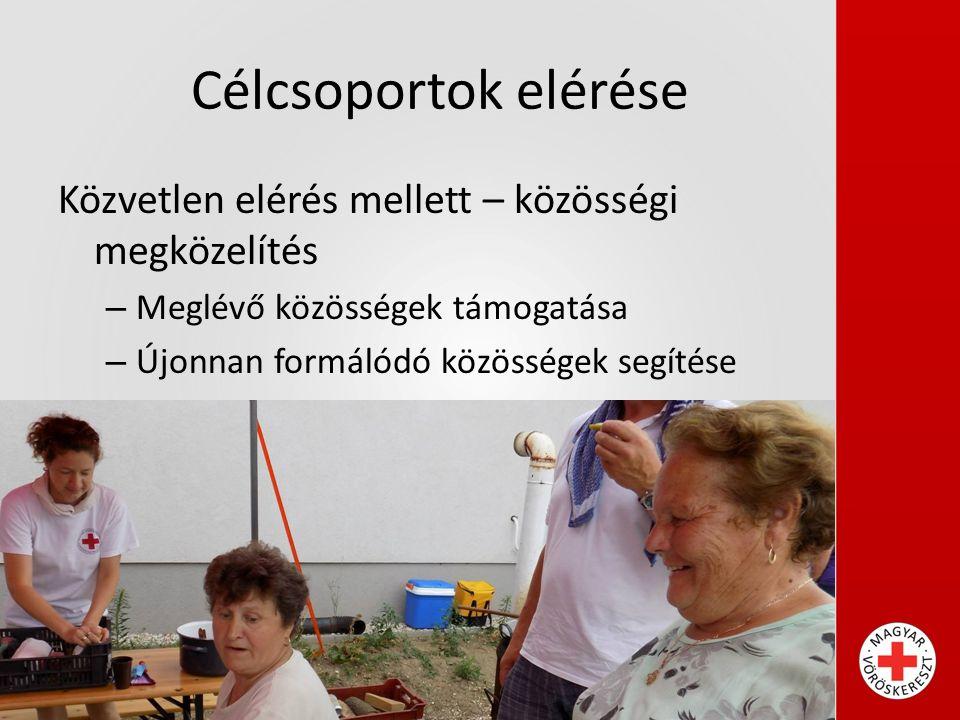 Célcsoportok elérése Közvetlen elérés mellett – közösségi megközelítés – Meglévő közösségek támogatása – Újonnan formálódó közösségek segítése