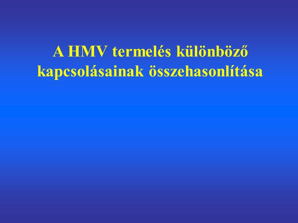 A HMV termelés különböző kapcsolásainak összehasonlítása