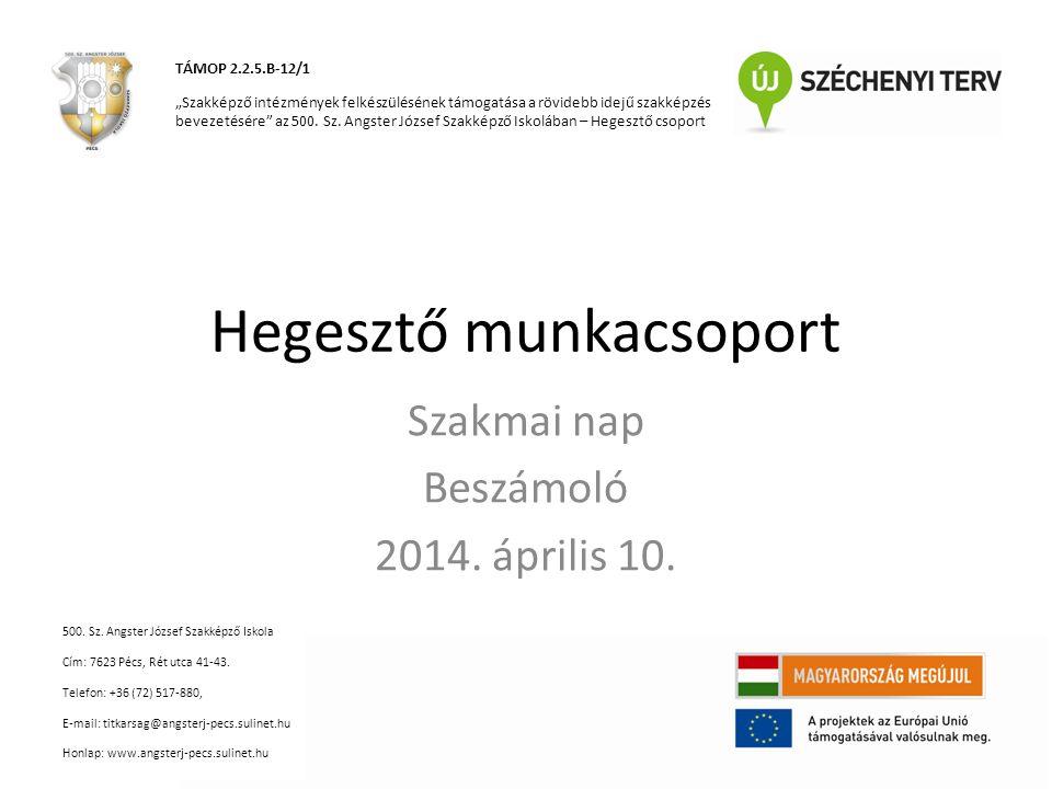 Hegesztő munkacsoport Szakmai nap Beszámoló 2014. április 10.