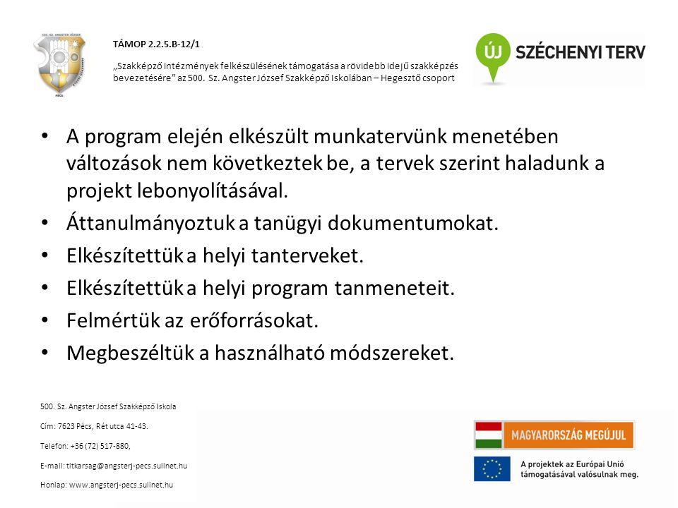 """Tantárgyak felosztása: – Györgyi Gyula: elméleti szakmai tantárgyak kidolgozása – Kalányos Ferenc: gyakorlati szakmai tantárgyak kidolgozása – Varga Zoltán: munka- és egészségvédelemmel kapcsolatos elmélet- gyakorlat kidolgozása (a többi szakmai munkacsoport részére is) és műszaki informatika gyakorlat a villanyszerelő képzés számára TÁMOP 2.2.5.B-12/1 """"Szakképző intézmények felkészülésének támogatása a rövidebb idejű szakképzés bevezetésére az 500."""