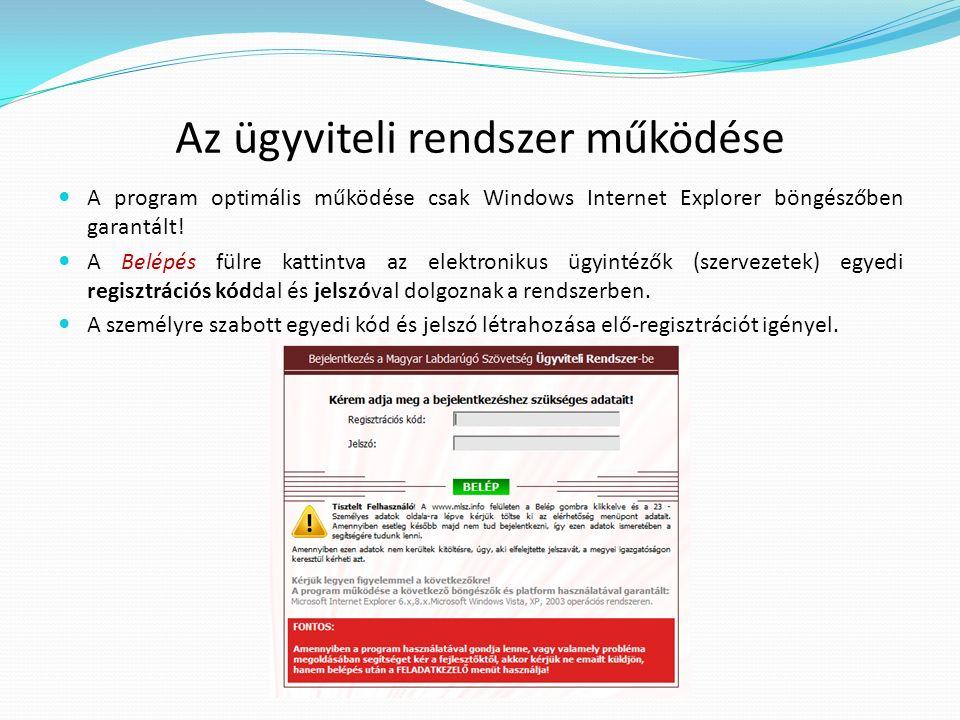 Az ügyviteli rendszer működése A program optimális működése csak Windows Internet Explorer böngészőben garantált! A Belépés fülre kattintva az elektro