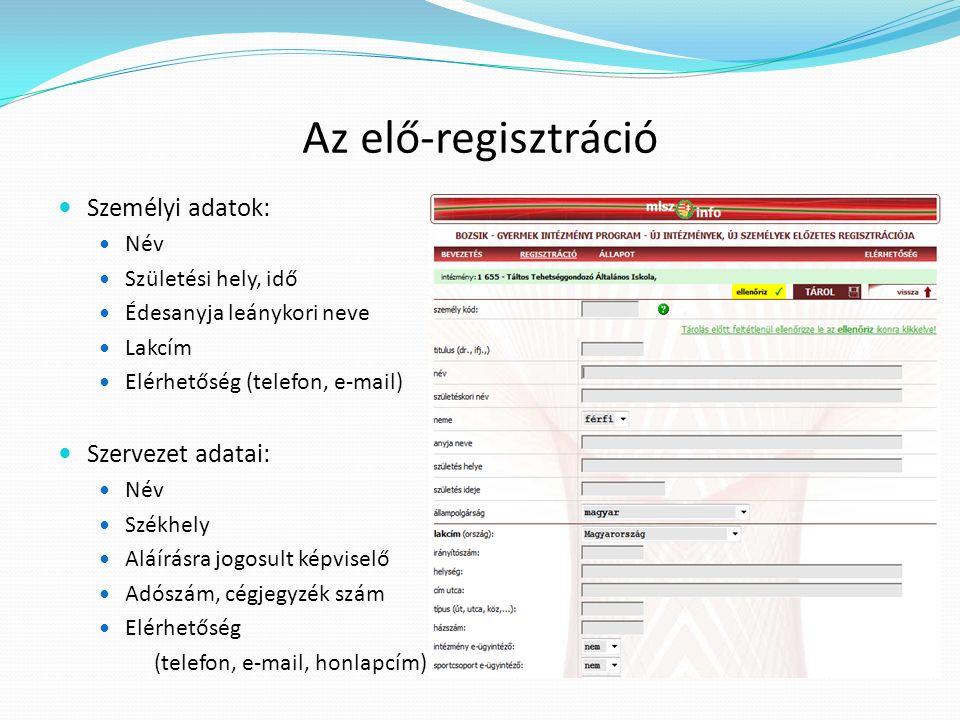 Az elő-regisztráció Személyi adatok: Név Születési hely, idő Édesanyja leánykori neve Lakcím Elérhetőség (telefon, e-mail) Szervezet adatai: Név Székh
